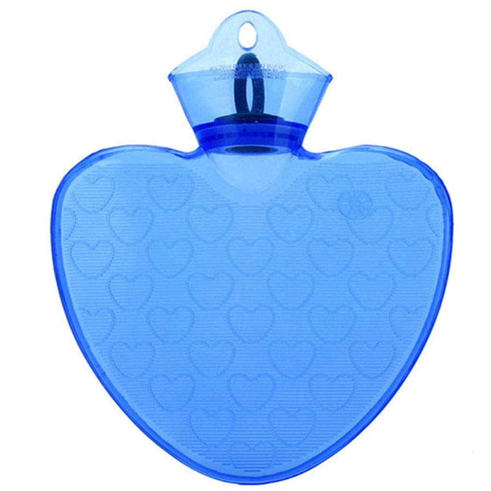 Warm Simple 1 L Hot Water Bottle Safe Water-Filled, Hot Water Bottle (Heart-Shaped, Blue) by Blancho Bedding
