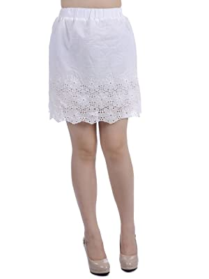 Anna-Kaci S/M Fit White Reverse Scallop Hemline Eyelet Lace Detail Short Skirt