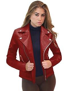 Amazon.com: Rambling Womens Trendy Short Moto Biker Faux ...