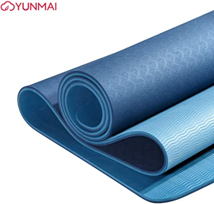 Amazon Com Yunmai Tpe Yoga Mat Premium With Carrying Bag 1 4 Double Sided Odorless Non Slip 6mm Pilates Mats High Grip 72 X 24 Exercise Mat Eco Friendly Training Mats Gym Home Outside Blue