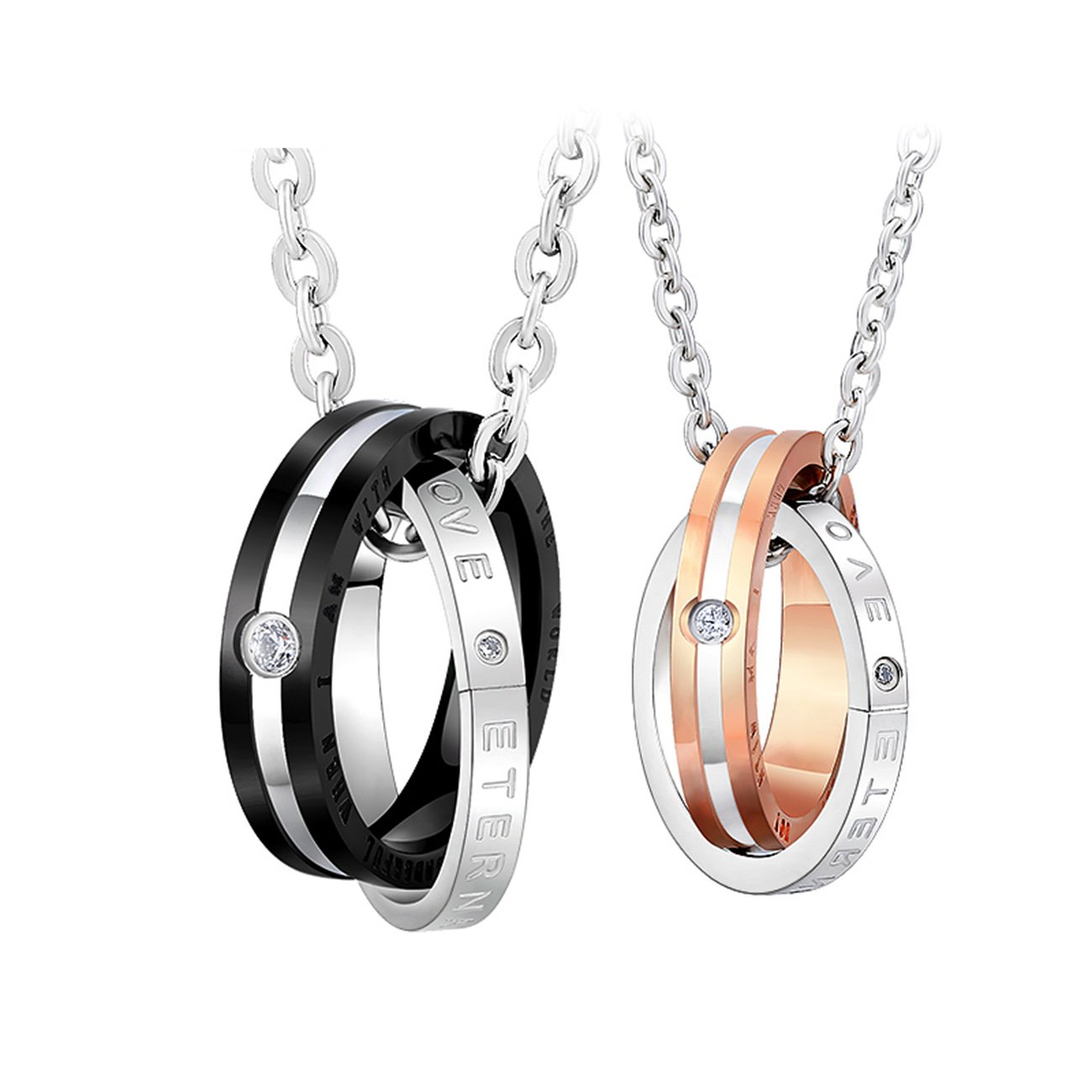 Ruinuo His & Hers Matching Set Couple Pendant Necklace Korean Love Style Gifts For Friends