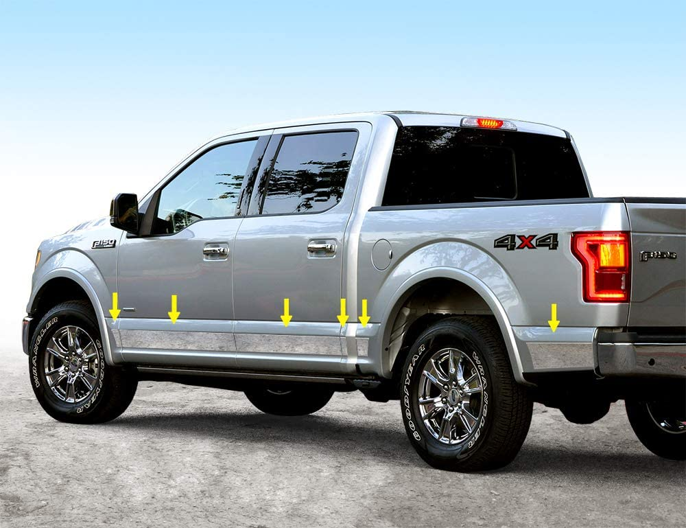 FOR 2015-2017 FORD F150 CREW CAB CHROME B PILLAR POST STAINLESS STEEL NO KEYPAD