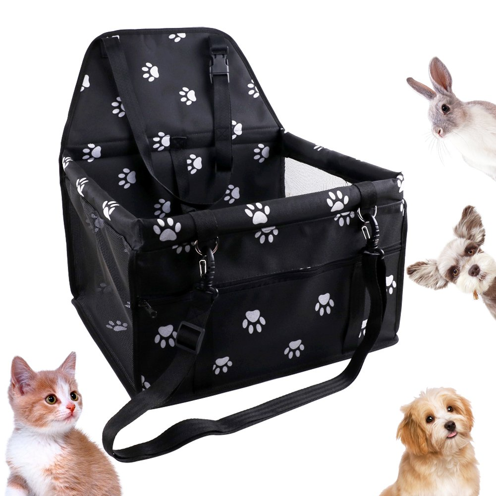 HankRobot Portable Dog Pet Car Seat for Dog Cat Booster seat Foldable Bag with Seat Belt Dog Carrier Safety Stable for Puppy Kitty Travel with Clip on Leash up to 25lbs (Black)