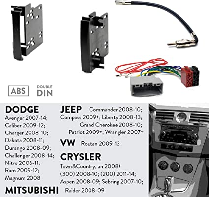 1 DIN Car stereo facia radio adapte for Chrysler//Dodge//Jeep ISO harness universal 1 din