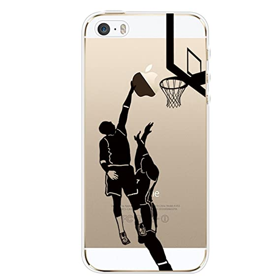buy popular 1a899 95058 iPhone 5S Case,iPhone 5 Case Dunk Shot, Personality Basketball Clear Design  Printed Transparent