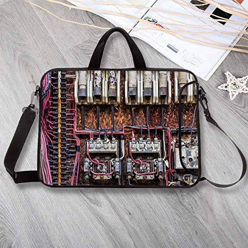 (Wire Decor Printing Neoprene Laptop Bag,Old Rusted Electrical Panel with Fuses and Contacts in Abandoned Energy Factory Print Laptop Bag for 10 Inch to 17 Inch Laptop,15.4