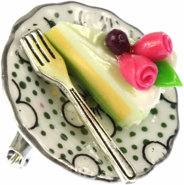 Miniblings Tortenstück Brosche Kuchenstück Kuchenteller Pin Porzellan Punkte