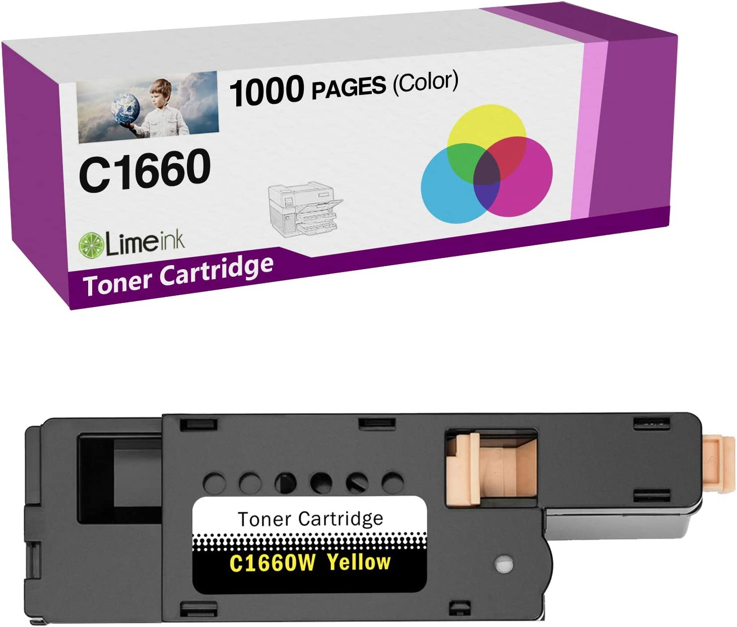 Limeink 1 Yellow Compatible High Yield Toner Cartridges Replacement for Dell 1250 Laser Printers 1250c 1350cnw 1355cn 1355w 1355cnw C1760nw C1765nf C1765nfw C1760