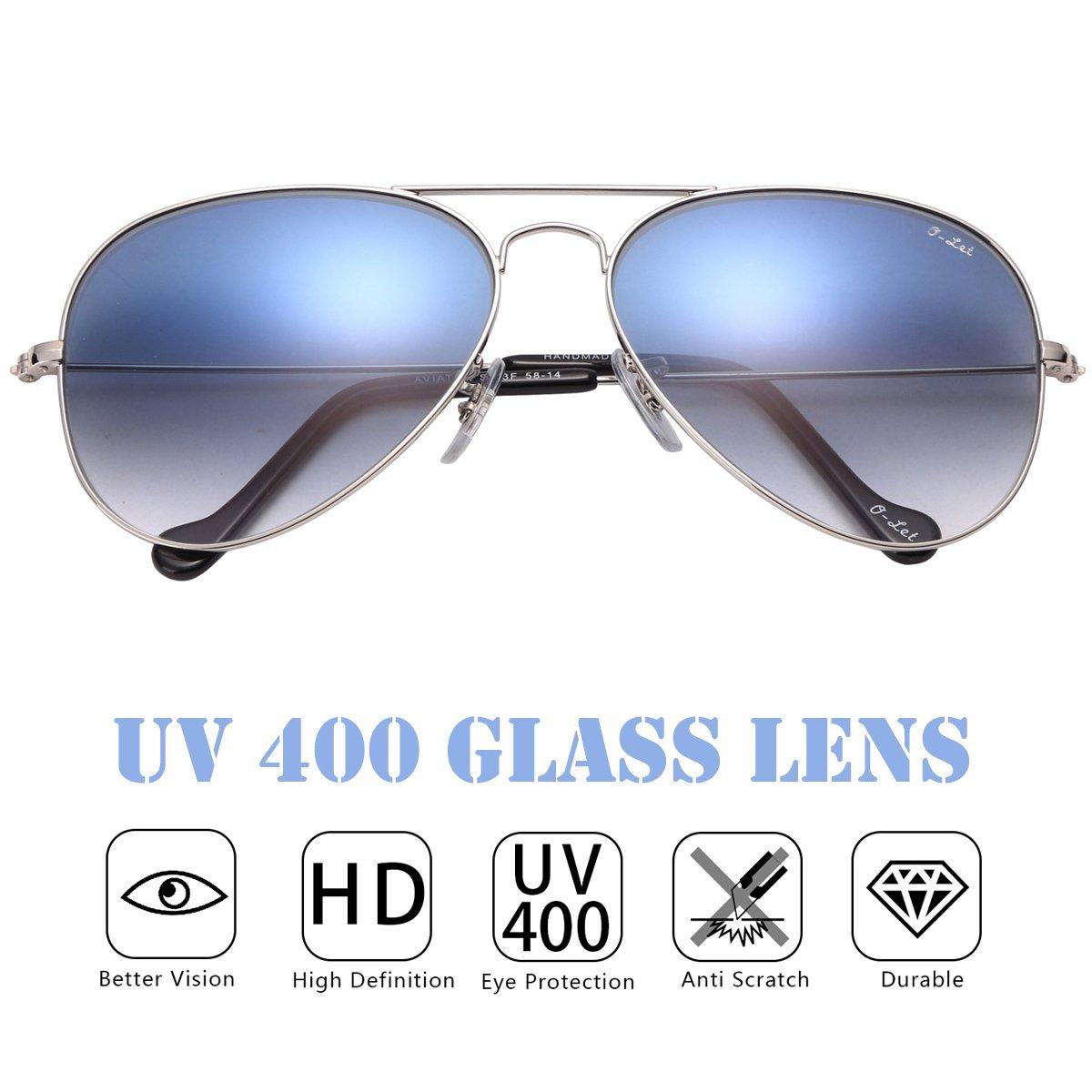 O-LET Small Aviator Sunglasses Women Men Aviators UV400 with Gift Case 55mm (Silver Frame/Blue Gradient Lens, 55)