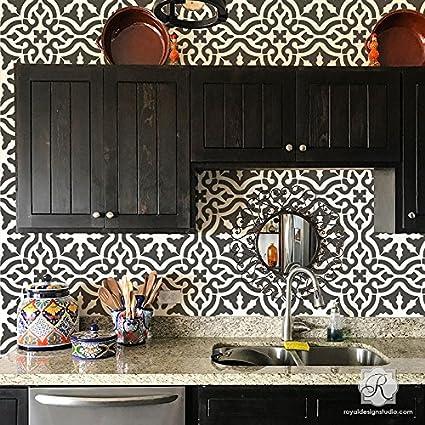 Toledo Tile Stencil For Painting Spanish Style Tiles   DIY Kitchen  Backsplash And Floor Designs (