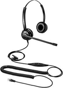 Beebang Office Telephone Headset RJ9 Jack with Pro Noise Canceling Microphone and Mute Switch Controls for Plantronics Jabra Mitel Nortel Shoretel Aastra Avaya Alcatel Landline Phones