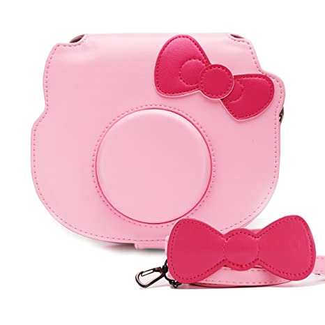 half off ebe71 8eb68 HelloHelio Mini Hello Kitty Instant Camera Case for Fujifilm Instax  Cameras, [Exact-Fit] Pink Kitty Bowknot Bag for INS Mini KIT CHEKI Camera  ...