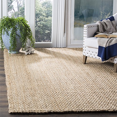 Safavieh Natural Fiber Collection NF401A Hand-Woven Basketweave Natural Jute Area Rug (6' Square) Woven Basketweave