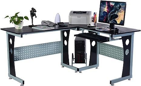 Escritorio de ordenador PC de madera en forma de L esquina ...