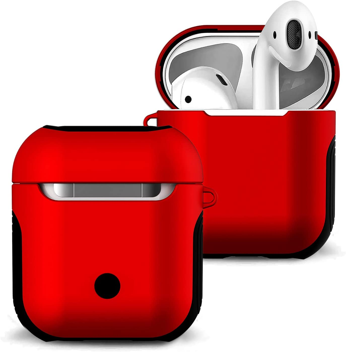 Airpods Case Cover and Skin - Romozi Airpod Skins is Silicone and Hard Cover Dual Layer Design, Heavy Duty Air Pods Case with Lanyard,Shockproof AirPod Covers for Apple Airpods Accessories(Red)