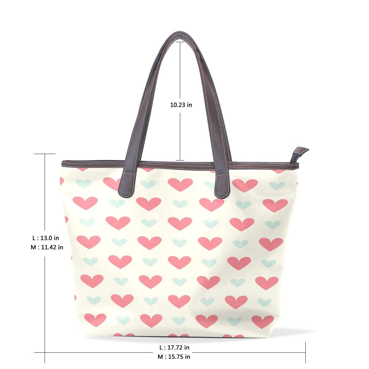 Ye Store Red And Blue Heart Pattern Lady PU Leather Handbag Tote Bag Shoulder Bag Shopping Bag