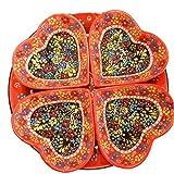 Handmade Turkish Traditional Ceramic 5 Piece Divided Serving Platter Set (Orange Heart)