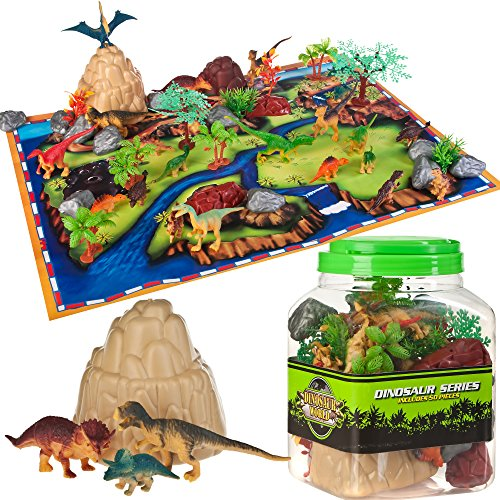 Dinosaur Toys Kids Play Set - 48 Piece Playset of Realistic Dinosaur Figures in a Bucket Includes Dinasaurs, Trees, Rocks, Fold Up Mat. Fun & Adventure Play Toys for Boys & Girls by Planet 9 Age 3 Up
