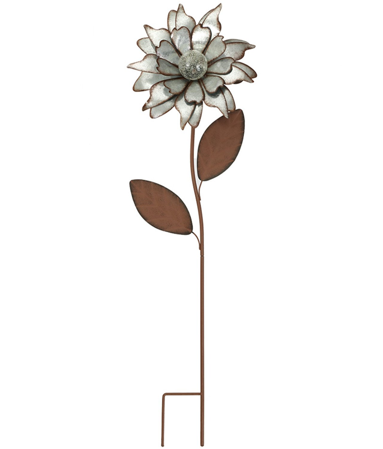 CEDAR HOME Galvanized Floral Garden Stake Outdoor Glow in Dark Water Proof Metal Stick Art Ornament Decor for Lawn Yard Patio, 12'' W x 3.5'' D x 35'' H, Rose