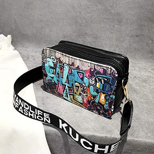 Cremallera móvil Vintage pequeña Crossbody señora Graffiti Black Dinero Girl Shoulder Majome Bolso de para teléfono wnxq07gwUS