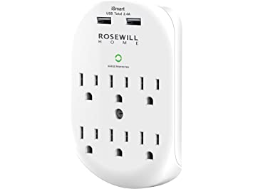 amazon rosewill 6 outlet surge protector wall outlet with 2 usb Network Cables and Connectors image unavailable