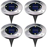 Solar Powered Ground Lights,4 LED Outdoor Garden Pathway Lights Waterproof Solar Landscape Spike Lighting for Patio Yard Driveway - Warm White 4 Pack