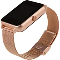 TOOGOO Z60 Bluetooth Smart Watch Camera Call SMS Remind Anti-Lost Sleep Monitor Pedometer Support SIM TF Card Stainless Steel Wristwatch for iOS and Android (Gold Metal)