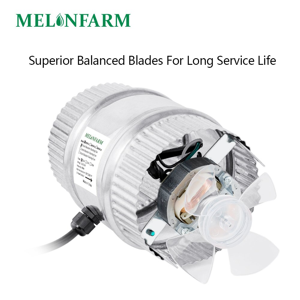 MELONFARM 4 Inch Duct Fan 100 CFM, Low Noise HVAC Metal Booster Blower For Exhaust and Intake Extra Long 6.0' Grounded Power Cord by MELONFARM (Image #3)