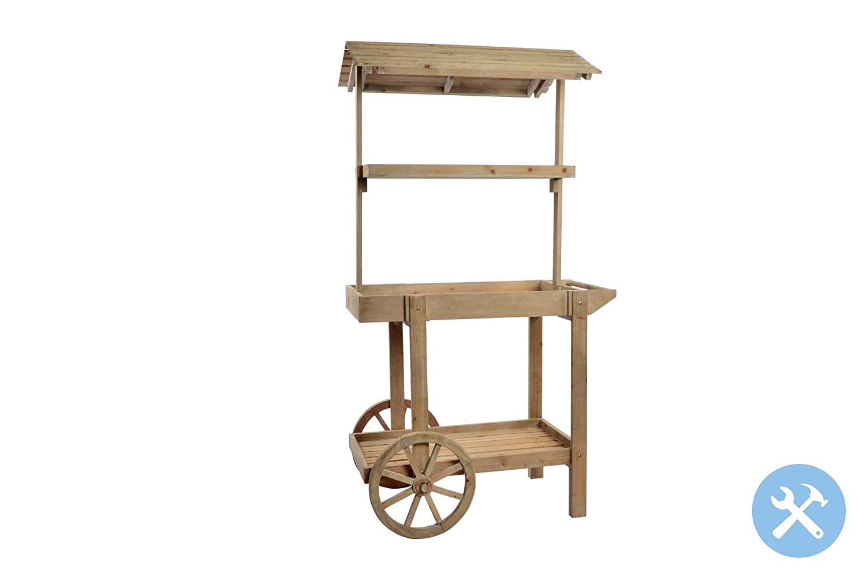 Indhouse - Carro de cultivo con ruedas y 4 estantes para macetas de madera natural envejecida: Amazon.es: Jardín