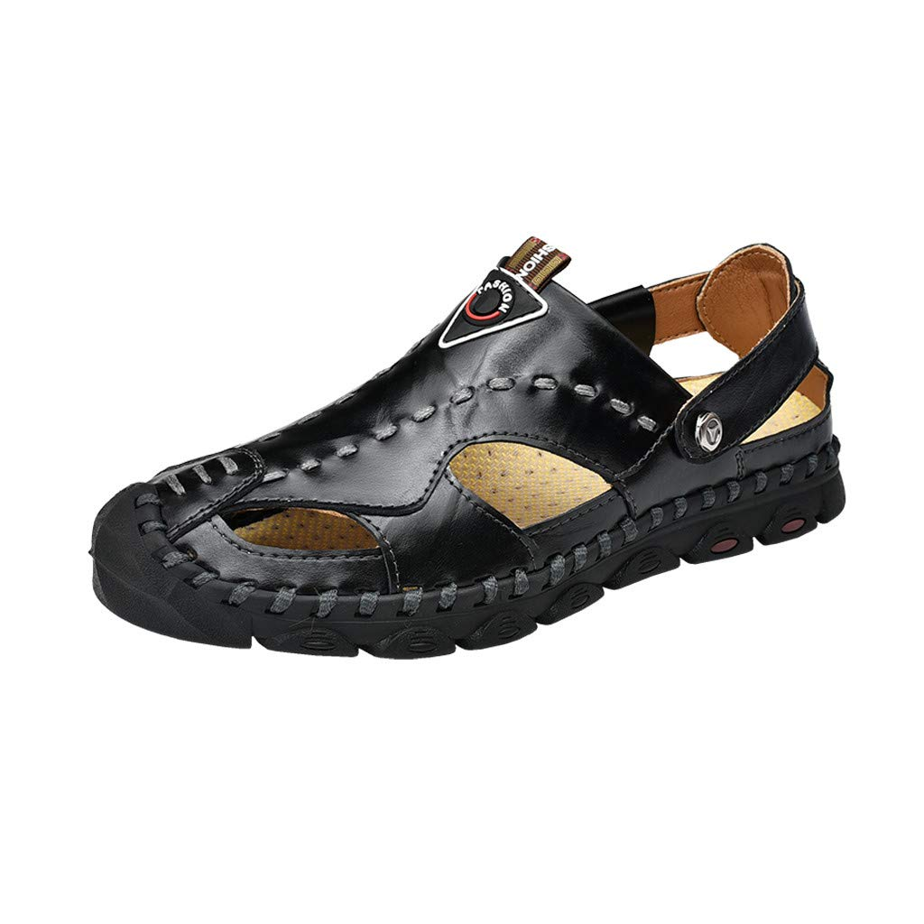 Corriee Sandal Men Summer Casual Breathable Flats Shoes Fashion Closed Toe Leather Sandals Black