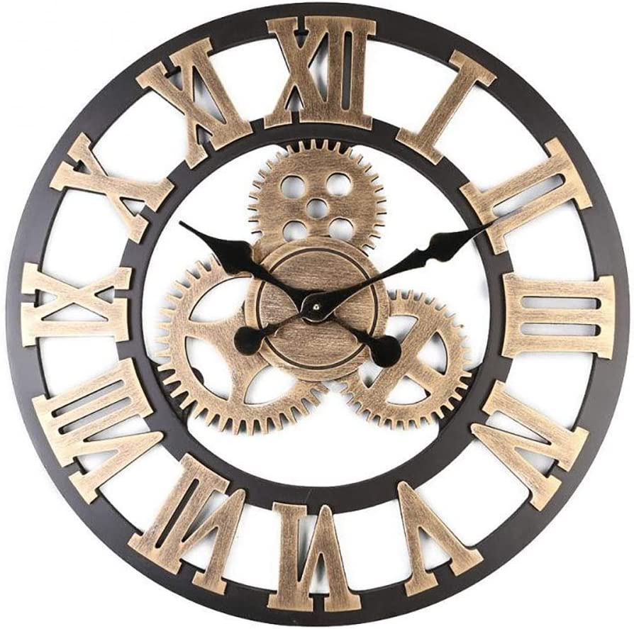 PX7 32 inch 3D Large Wall Clock Classic Vintage Wooden Noiseless Silent Gear Retro Hanging Clock Roman Numeral Horologe American Style Steampunk Industrial Decor for Living Room (Gold,8080cm)