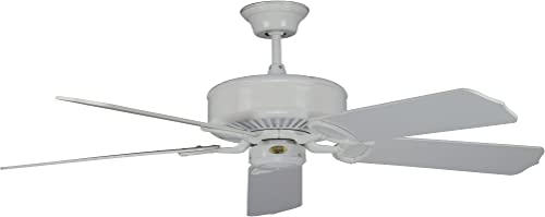 Concord Fans 52MA5WH Downrod Mount, 5 White Blades Ceiling fan, White