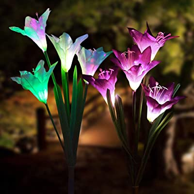 Dream Master Outdoor Solar Garden Stake Lights - 2 Pack Solarmart Solar Powered Lights with 8 Lily Flower