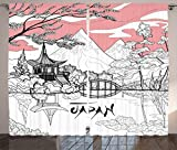 Cheap Ambesonne Asian Curtains, Nostalgic Pagoda with Multiple Eaves in Retro Style Religious Place Meditation, Living Room Bedroom Window Drapes 2 Panel Set, 108 W X 84 L Inches, Pink White Black