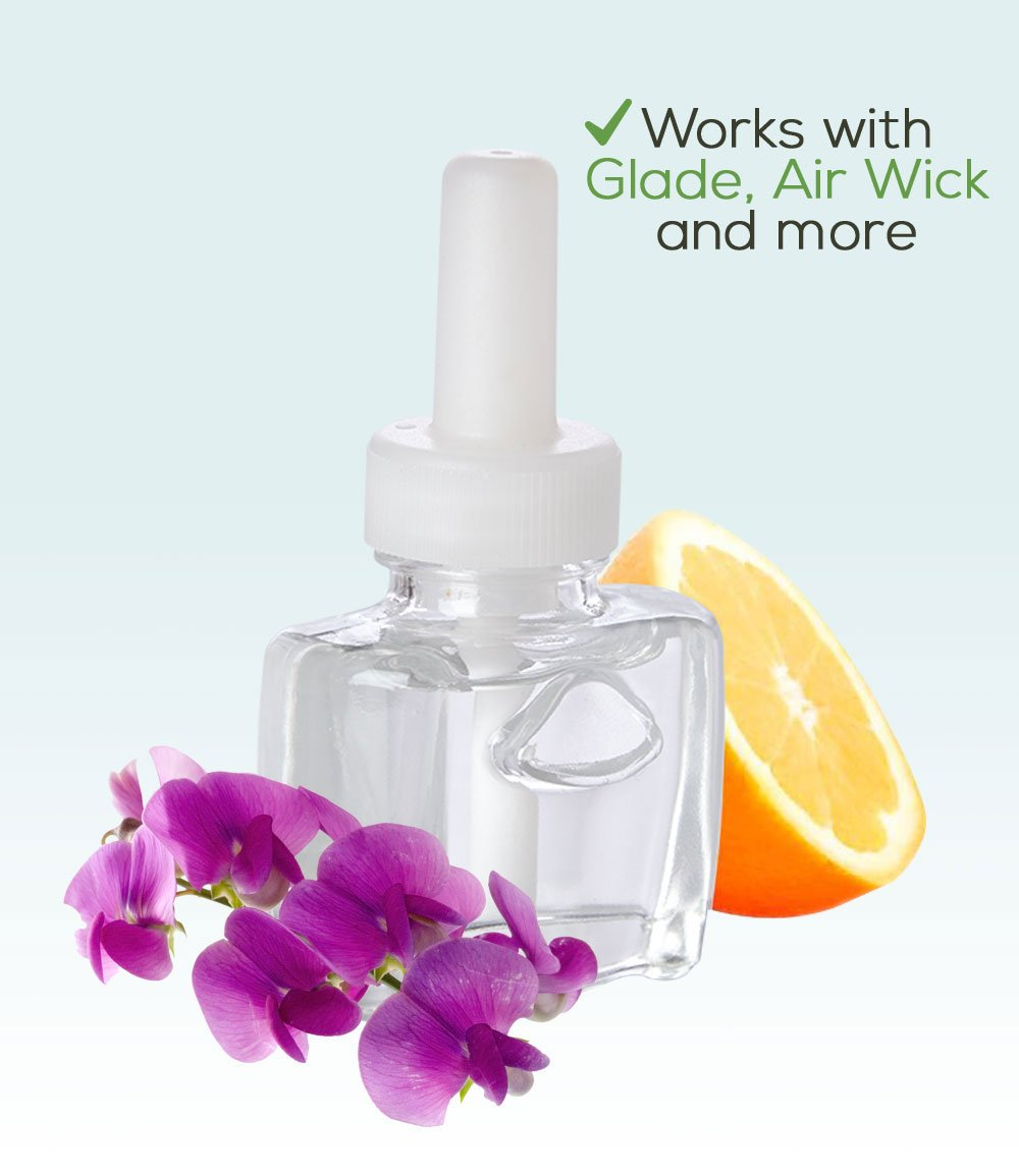 (4 Pack) Sweet Pea & Citrus Plug in Refills - Fits Glade, Air Wick, and More
