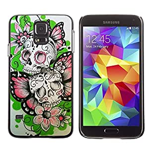 Plastic Shell Protective Case Cover || Samsung Galaxy S5 SM-G900 || Butterfly Flowers Spring Skull Biker @XPTECH