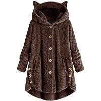 TLOOWY Autumn Winter Faux Fur Coat Womens Hoodie Pullover Outerwear Tops Loose Cat Ear Plus Size Warm Sweatshirt Blouse