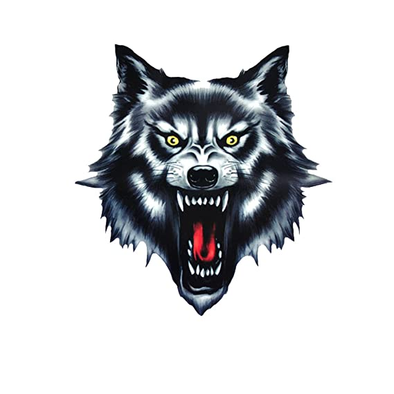 F-blue Wolf Head Motorcycle Motorbike Car Door Decal Badge Paster Film Emblem Stickers Truck