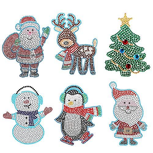 Augoog 6 Set Self Adhesive Christmas Rhinestone Stickers, Diamond Decoration for Wall and Arts Crafts with Christmas Tree, Santa Claus, Snowman, Elk, Penguin