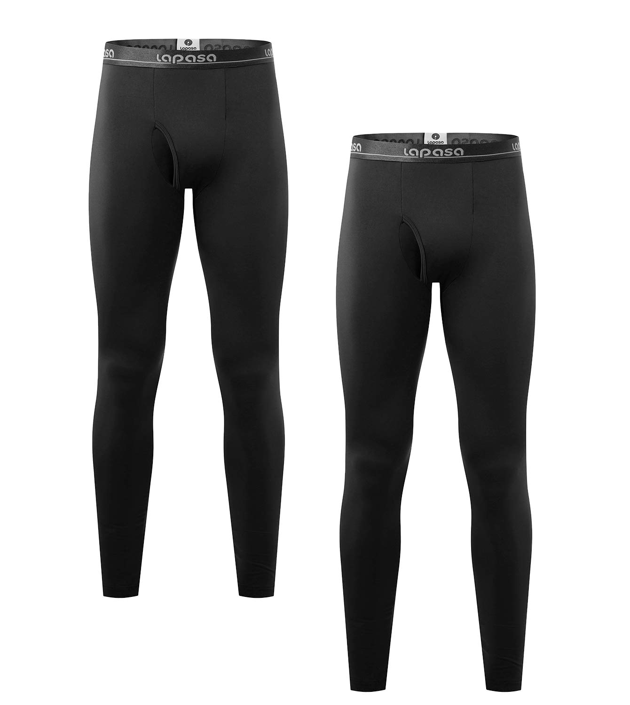 LAPASA Men's Lightweight Thermal Underwear Pants Fleece Lined Long Johns Leggings Base Layer Bottoms 2 Pack M10 (Large, Black) by LAPASA