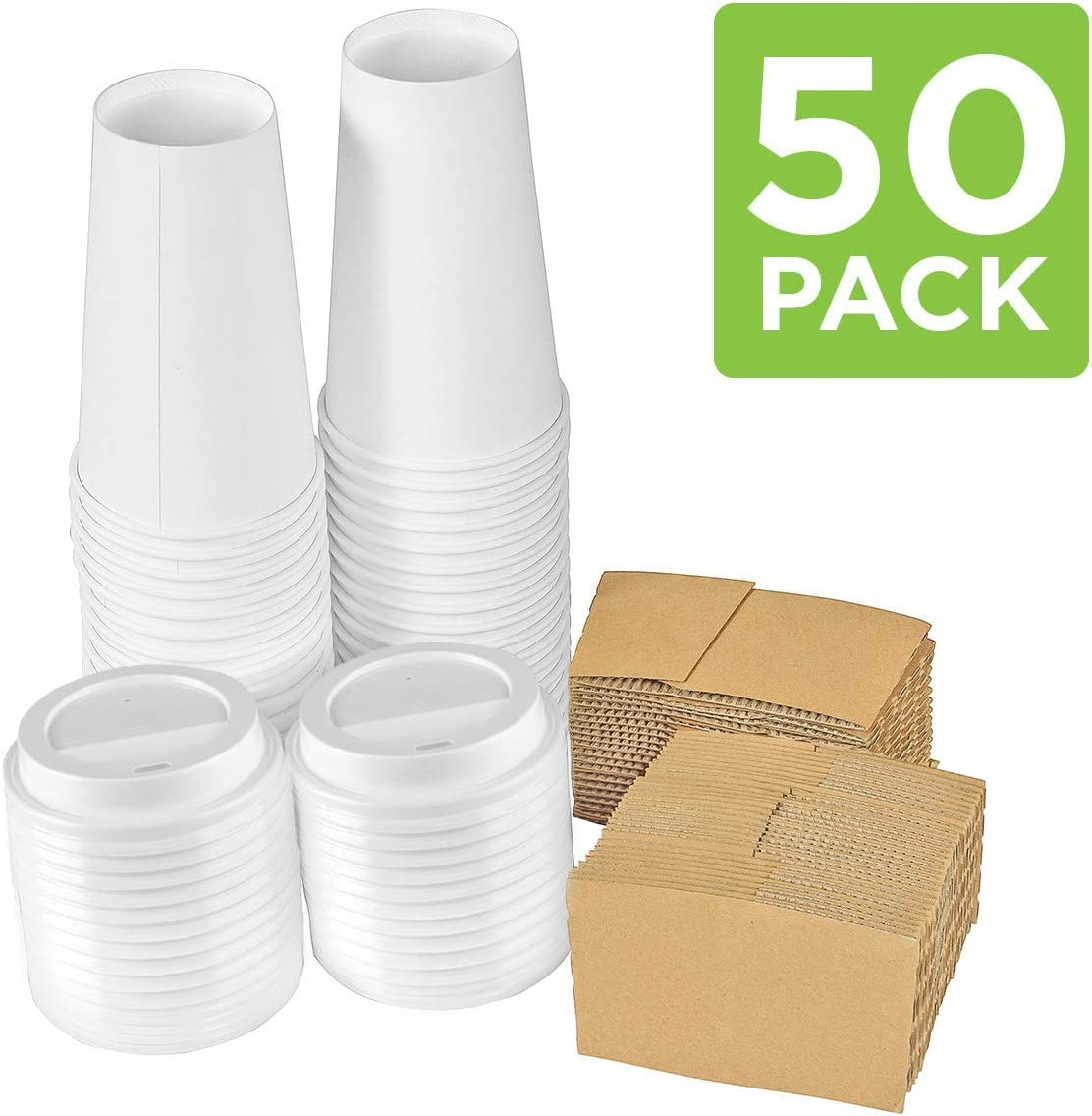 Disposable Coffee Cups with Lids 16 oz – Pack of 50, Cold/Hot Beverage Paper Cups with Sleeves
