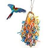 Hamiledyi Bird Toys Foraging Star Bird Chew Toy Super Shredder Ball- Will Keep Your Bird Busy for Weeks Foraging for Hidden Treasures Parrot Cage Toys Cages Shredder Cockatiel Conure