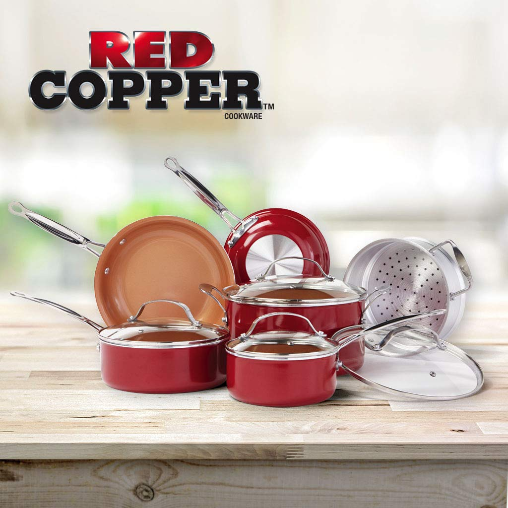 Red Copper 10 PC Copper-Infused Ceramic Non-Stick Cookware Set by BulbHead by BulbHead (Image #3)
