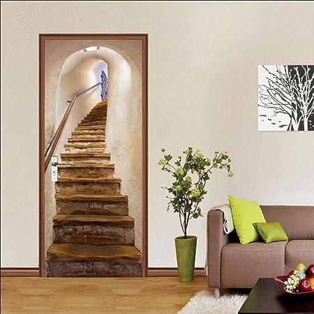 Stickers De Porte, 3D Intérieure Chambre Décoration Trompe l\'oeil Vintage  Sticker Muraux, Escaliers Adulte Enfant Salle Bain Poster 77 * 200Cm