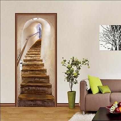 Stickers De Porte, 3D Intérieure Chambre Décoration Trompe l ...
