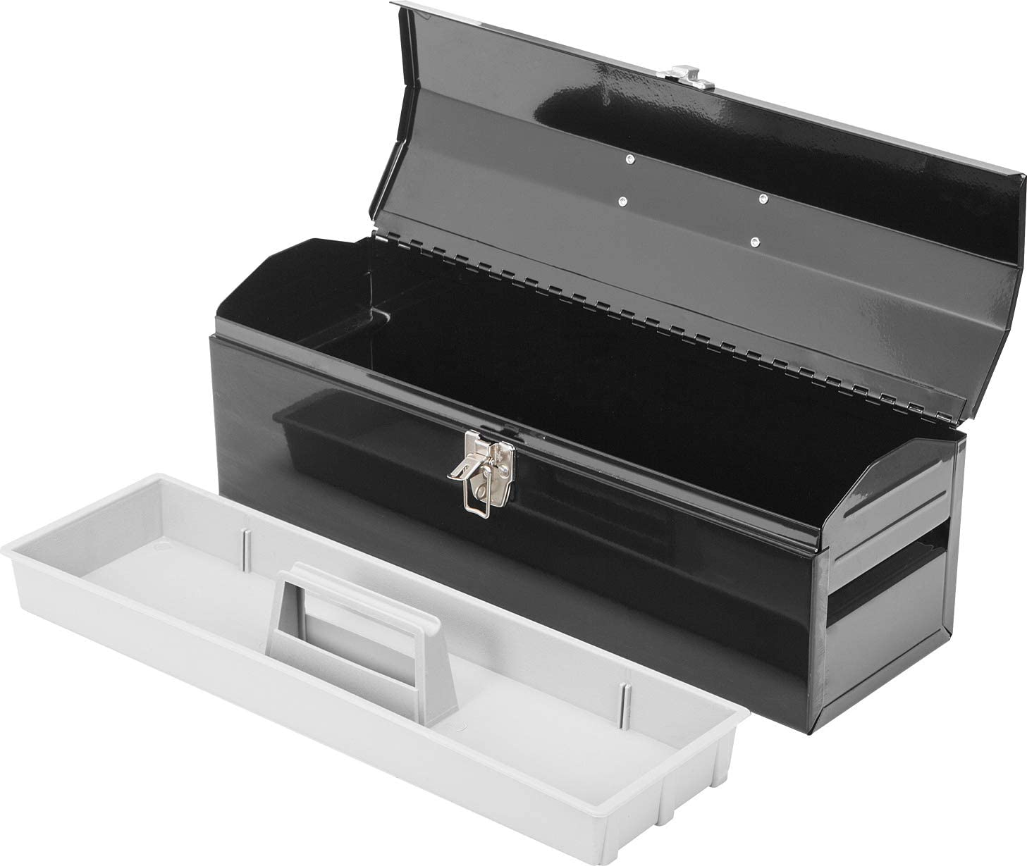Black Torin ATB101B 19 Hip Roof Style Portable Steel Tool Box with Metal Latch Closure and Removable Storage Tray