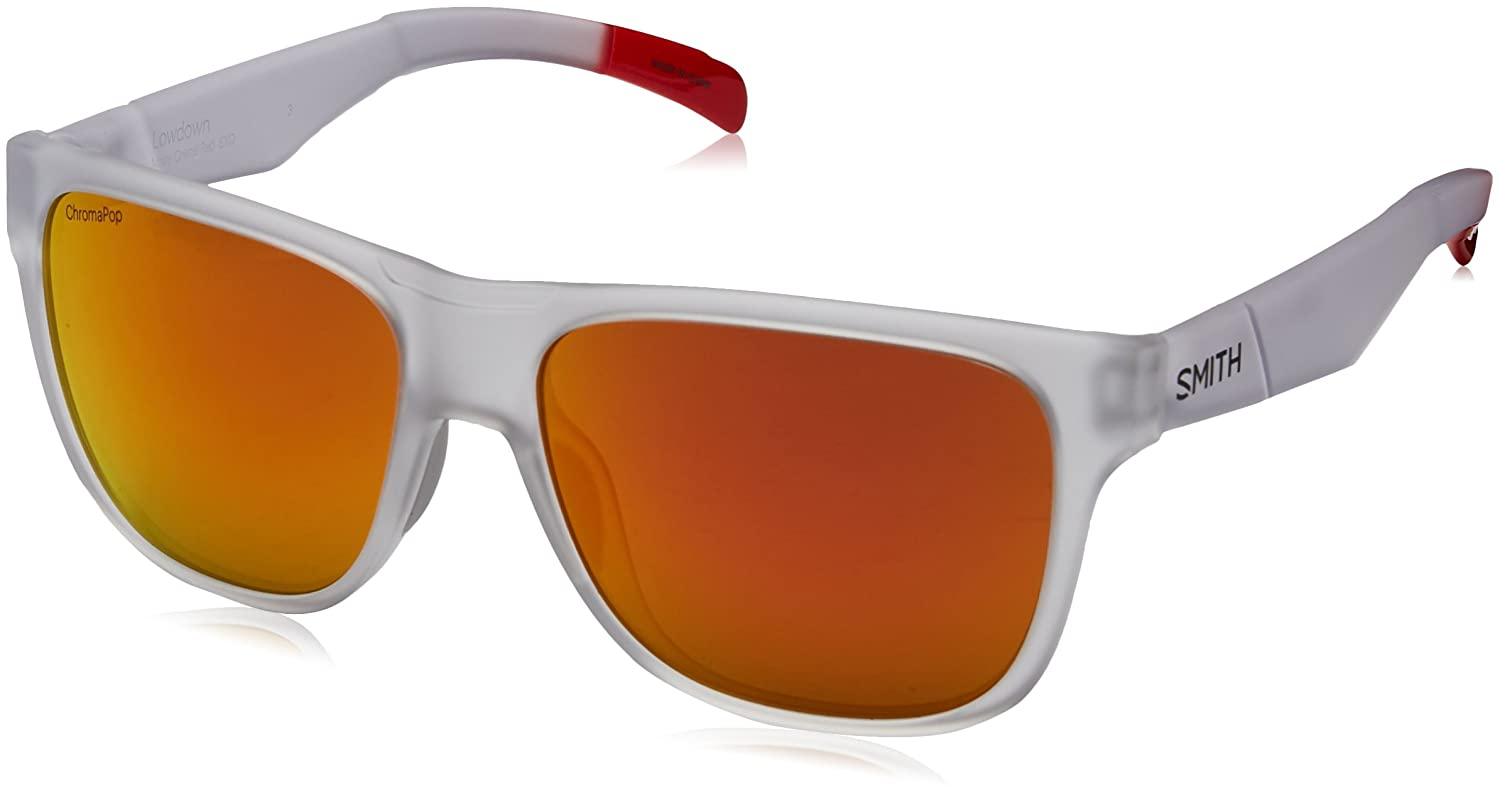 941a08d220490 Smith LDCMDMMCRD Lowdown Mens Matte Crystal Red Frame ChromaPop Sun Red  Mirror Lens Oversized Sunglasses  Amazon.co.uk  Clothing