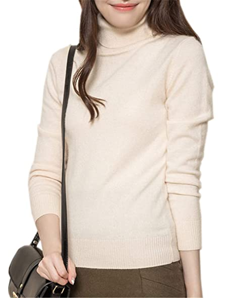 LATUD Womens Cashmere Long Sleeve Turtleneck Basic Knit Pullover Sweater, Small=US 4-6 Beige
