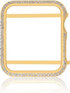 Hiseanllo Rhinestone Inlaid Watch Cover Protective Case Compatible with iWatch Apple Watch Series 1, Series 2, Series 3 Non-Ceramic Edition - Gold(38mm)