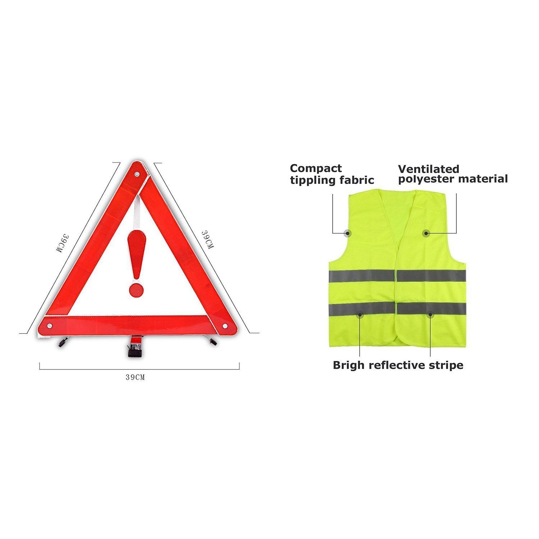 MPTECK @ Triangolo Riflettente Segnaletica stradale di pericolo + Gilet di Sicurezza per ripartizione di sicurezza di emergenza mondpalast safety